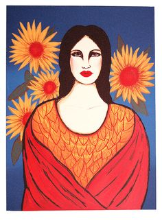 Mujer Con Flores Print By Laura Lopez Cano