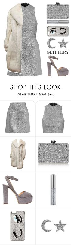 """""""Festive Night Out"""" by igedesubawa ❤ liked on Polyvore featuring Topshop, Edie Parker, Giuseppe Zanotti, Urban Decay, Chiara Ferragni, Khai Khai, party, glitter, simpleset and fur"""