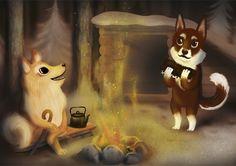 Dog illustration for Christmas card. Jonna Markkula. Koirat laavulla joulukortti.