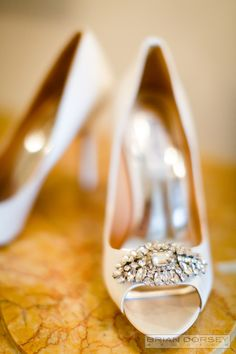 Wedding shoes with a little bling: http://www.stylemepretty.com/2015/11/19/dream-wedding-at-the-plaza-in-new-york-city/   Photography: Brian Dorsey - http://briandorseystudios.com/