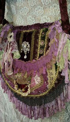 Purple gypsy boho magnolia lace velvet seam binding pearl purse carpet bag #gypsy #ShoulderBag