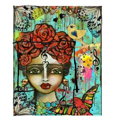 Rosita Rose Goddess Of Music & Love Music Love, Collage Art, December, Rose, Polyvore, Painting, Pink, Painting Art, Paintings
