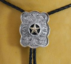 bolo ties images | Western Bolo Tie Silver with Gold Trim Texas Star