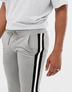 ASOS DESIGN poly tricot super skinny sweatpants with side stripe in gray Lower T Shirt, Grey Fashion, Fashion Outfits, Mens Fashion, Cute Sweatpants, Men Trousers, Adidas Outfit, Lifestyle Clothing, Mens Clothing Styles