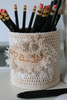 DESK ORGANIZER PARIS Crochet Tin Coffee Can