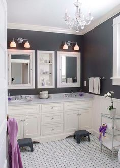 White and black bathroom with purple accents