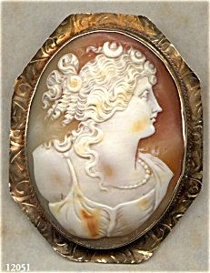CAMEO  Brooch  Goddess  FLORA  Hand Carved Shell   12K  by Cleoras, $350.00