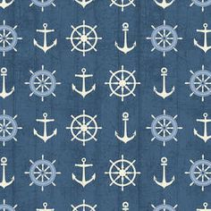 Windham fabric Blue SHIPS WHEELS and ANCHORS by Fabric313 on Etsy, $9.50