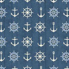 Windham fabric Blue SHIPS WHEELS and ANCHORS by Fabric313 on Etsy, $9.50 - #Illustration #Ilustración #Sea #mar #marino #océano #náutico #Ocean #Nautic #Art #Beach #Playa #SeaLife #SeaPrint #Coastal #Coast #WhiteSand #Seaside #Aqua #Summer #Shore #SaltyAir