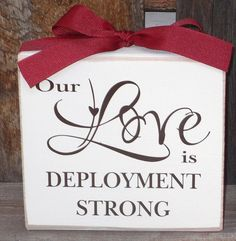 Our love is deployment strong block wood block by stickwithmevinyl, $10.00