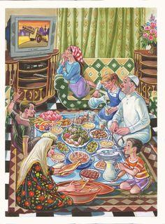Ramadan with the Iraqi artist Dia Al - Hajjar Art Village, Ramadan Poster, Ramadan Crafts, Islamic Cartoon, Arabian Art, Anime Muslim, Hijab Cartoon, Indian Art Paintings, Egyptian Art