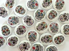 12 Sugar Skull Buttons - Day of the Dead Buttons - Sewing Buttons - Wooden Buttons - Button Flowers, Sewing A Button, Day Of The Dead, Halloween Themes, Mini Cupcakes, Sugar Skull, Rainbow Colors, Buttons, Skulls