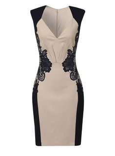 Cream + navy lace dress. Perfect to wear to a networking event.