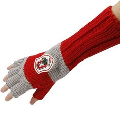 Ohio State Buckeyes Ladies Scarlet-Gray Spirit Fingers Gloves