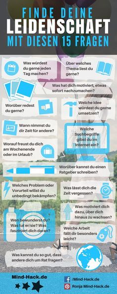 [Infografik] Finde deine Leidenschaft mit diesen 15 Fragen – Mind Hack Find your passion with these 15 questions – Infographic Success Productivity E Learning, Cv Inspiration, Motivation Inspiration, Coaching, Mind Hack, Mind Tricks, Day Trading, Online Trading, Stock Market