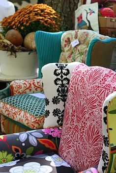 This is exactly what I plan on doing to my new wing-backed chair - combining a variety of fun fabrics together! (via Paige Knudsen)