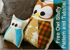 Free Owl Pattern and Tutorial remodelaholic.com #make #Sew #easy #kids #toys