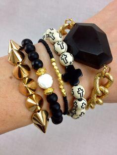 Black , White and gold Boho Bracelet Set