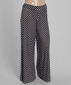 This Black Polka Dot Palazzo Pants - Plus is perfect! #zulilyfinds