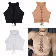 Halter Lace-Up Blouse Women Ladies Bandage Crop Tops Casual Sleeveless T-Shirt