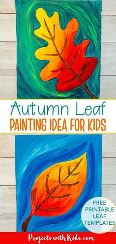 Welcome fall with this gorgeous autumn leaf painting idea! Kids will learn about blending and mixing colors with acrylic paints. Free leaf templates provided. Fall Arts And Crafts, Autumn Crafts, Fall Crafts For Kids, Art For Kids, Autumn Art Ideas For Kids, Thanksgiving Crafts, Fall Canvas Painting, Autumn Painting, Acrylic Painting For Kids