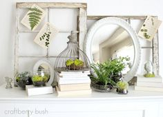 Spring Mantel... love the greenery and the old window frames
