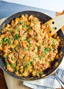 One Pot Tandoori Quinoa | yupitsvegan.com. A hearty, delicious and nutritious quinoa dish packed with sweet potatoes and chickpeas, with everything cooking in one pan! Vegan and gluten-free recipe.