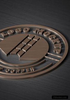 3D copper logo mockup psd