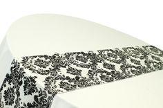 Satin Black and White Damask Runner for wedding linens decor