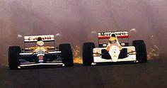 Nigel Mansell (Williams) X Ayrton Senna (Mclaren) - Spanish GP 1991 Formula 1, Sport Cars, Race Cars, Motor Sport, Spanish Grand Prix, Porsche, Nigel Mansell, F1 Racing, Indy Cars