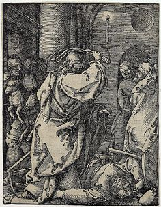 Small Passion: 7. Christ Driving the Merchants from the Temple. Durer. 1511. Woodcut. British Museum. London.