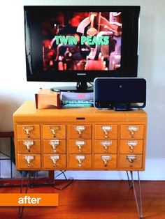 Before & After: Cast Away Card Catalog Turned into a Marvelous Media Stand
