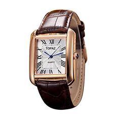 Topaz Unisex 5068AML Blanco Face Marrón Banda Fashion reloj de mujer con diseño clásico.
