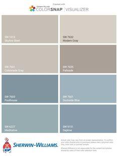 Ideas Exterior House Colors Sherwin Williams Blue For 2019 Blue Paint Colors, Paint Color Schemes, Colour Pallette, Grey Paint, Home Color Schemes, Bluish Gray Paint, Colour Gray, Interior Paint Colors For Living Room, Exterior Paint Colors For House
