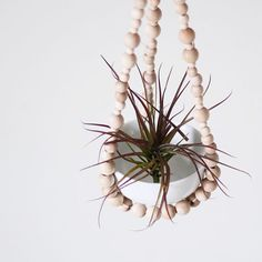 Small Beaded Hanging Planter with Cup