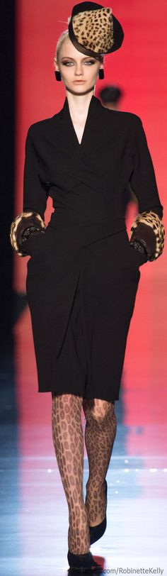 Jean Paul Gaultier Haute Couture | F/W 2013. Just did my black top & leopard pointy toe heels... added a green pencil skirt w/ skinny black belt