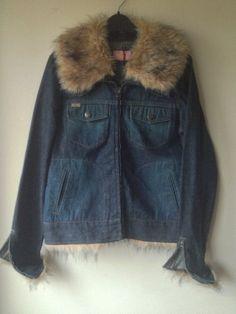927a133278 ... sale retailer d01e3 3f1fd Vintage denim jacket with Big faux fur by  ShellysRelics ...