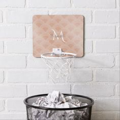 Elegant blush pink mermaid fish scale pattern mini basketball hoop - elegant gifts gift ideas custom presents