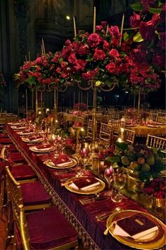 Colours (deep red and gold) shorter smaller centrepieces Note: Velvet seat cushions and table cloth