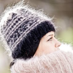 FREE SHIPPING Tiffy Mohair Hat Beanie Hand Knitted Fuzzy Fluffy Thick Unisex Made to order T 307 by TiffysMohair on Etsy