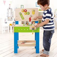 Build, play, create things with your own hands and this realistic Hape Toys Master Workbench Wooden Playset for Kids. Wooden Playset, Wooden Toys, Toys For Boys, Kids Toys, Wooden Work Bench, Workbench Designs, Diy Workbench, Industrial Workbench, Hape Toys