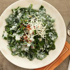 This tasty dish takes Kale from nutritious leafy green to scrumptious side dish. More side dishes: http://www.bhg.com/thanksgiving/recipes/thanksgiving-side-dishes0/?socsrc=bhgpin101912creamedkale#page=18