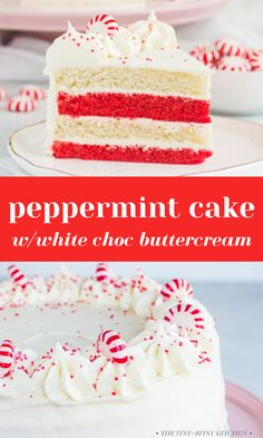 This peppermint cake with white chocolate buttercream frosting is so much easier to make than it looks. It starts with a doctored box of white cake mix! The addition of a few secret ingredients makes it taste homemade. It's soft, moist, minty, and totally delicious. It's a great dessert recipe for Christmas or any time this holiday season! Pepermint Cake, Chocolate Peppermint Cake, Chocolate Buttercream, Buttercream Frosting, Chocolate Cake, Icing, Christmas Desserts, Christmas Baking, Christmas Recipes