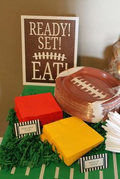 Ready to eat at a football birthday party! See more party planning ideas at CatchMyParty.com!