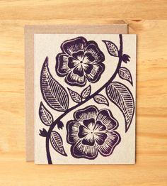 block printed cards / katharine watson on etsy.