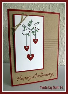 Sweet Summer set- Anniversary card. Could also be a Christmas card, with ornaments instead of hearts.