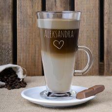 Grawerowana szklanka do latte SERDUSZKO idealny na urodziny