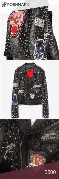 ZARA STUDDED LEATHER JACKET LIMITED EDITION Brand-new with tags's size extra small 100% leather fully studded all patch is intact will fit up to a petite small limited edition limited quantities made Zara Jackets & Coats