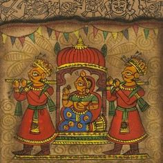 Royal Palanquin Phad Art - The ancient art form of painting on cloth gets a modern makeover with contemporary strokes featuring the queen in the royal palan Indian Artwork, Indian Folk Art, Indian Art Paintings, Rajasthani Painting, Rajasthani Art, Madhubani Art, Madhubani Painting, Kalamkari Painting, Phad Painting