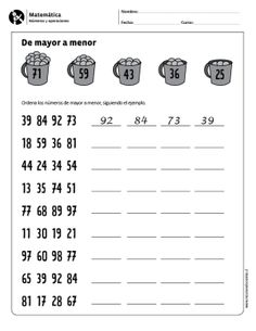 De mayor a menor 3rd Grade Math Worksheets, School Worksheets, 1st Grade Math, Preschool Family, Math Enrichment, English Worksheets For Kids, Math For Kids, Math Lessons, Math Centers
